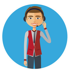Customer service call center operator on duty vector