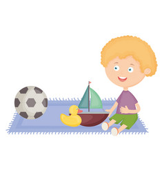 cute little boy with sailboat and toys vector image