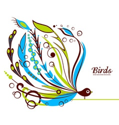 Decorative floral bird vector image