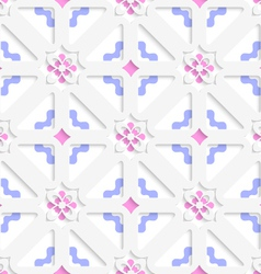 Diagonal flowers layered with blue and pink vector