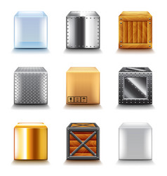 Different boxes icons set vector