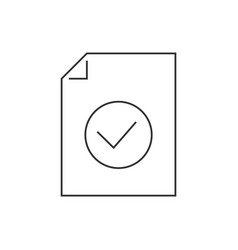 Document approved line icon on white background vector
