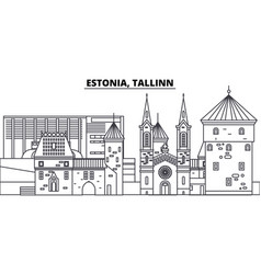Estonia tallinn line skyline vector