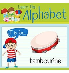 Flashcard letter t is for tambourine vector