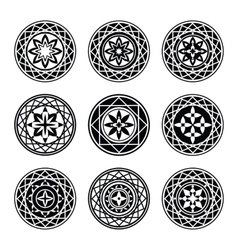 Floral ornament 9 tattoo set Flowers in star vector
