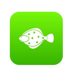 Flounder fish icon digital green vector