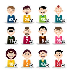 football team soccer players icons isolated on vector image