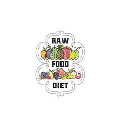 fruits and vegetables vegetarian banner raw food vector image