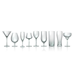 glass cups realistic empty stemware transparent vector image