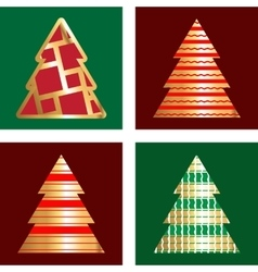 Gold And Red Christmas Tree Icon Set vector image