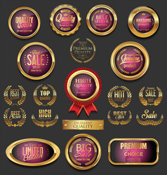 golden badges and labels collection 13 vector image