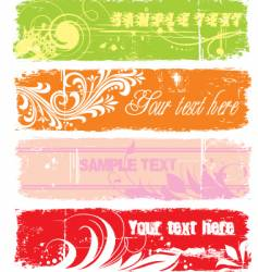 Grunge floral banners vector