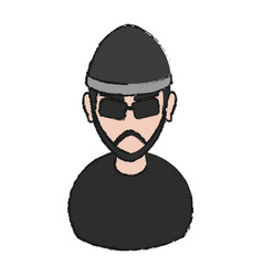 Hacker man icon vector