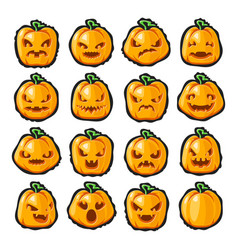 Halloween pumpkin lantern scary faces smile emoji vector
