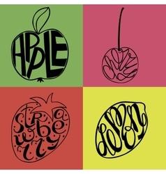 Hand lettering made inside fruits Apple Lemon vector