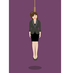 Hanged business woman vector