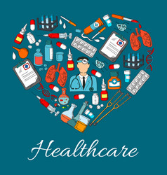 Healthcare heart medicine symbol vector