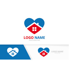 Heart and home logo combination love and vector