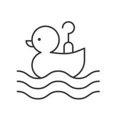 Hook a duck icon amusement park related line style vector