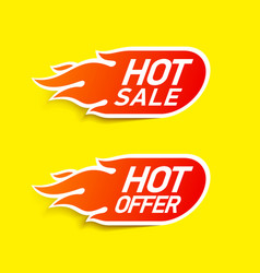 Hot sale and hot offer labels stickers special vector