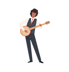 man playing banjo male jazz musician character in vector image