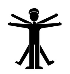 Man vitruvian icon blac vector
