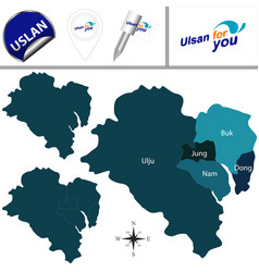 map of ulsan with districts south korea vector image