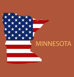 Minnesota state of america with map flag print vector