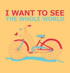 Motivational travel poster with bike vector