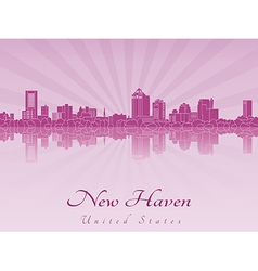 New Haven skyline in purple radiant orchid vector