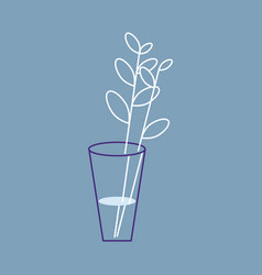 Outline leaf in glass icon vector