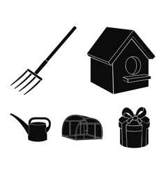 Poultry house pitchfork greenhouse watering can vector