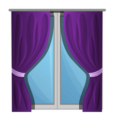 purple window curtains icon cartoon style vector image
