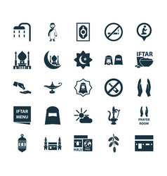 Ramadan icons set collection of no alcohol vector