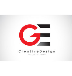 Red and black ge g e letter logo design creative vector