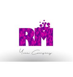 Rm r m dots letter logo with purple bubbles vector