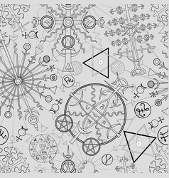 Seamless background with mystic symbols vector