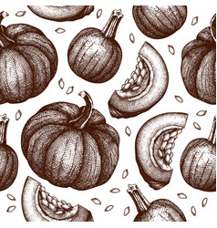 seamless pattern with hand drawn pumpkins vector image