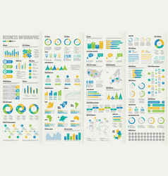 set business infographic elements vector image