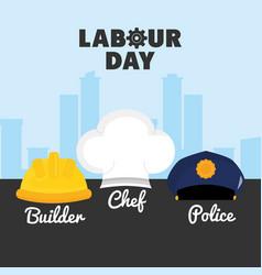 set hats workers uniforms vector image