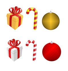 Set icons for Christmas and new year Gift box and vector image