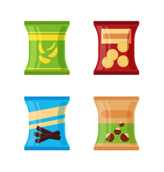 Set of different snacks - salty chips cracker vector