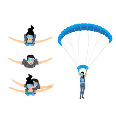 Set of skydivers parachutist characters skydiver vector