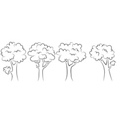 set of trees outline on a white background vector image