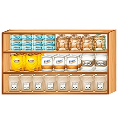 Shelves full of different kinds of food vector