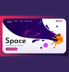 space landing page with flying astronaut vector image