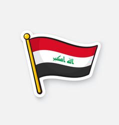 Sticker flag iraq on flagstaff vector