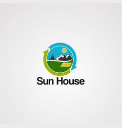 sun house logo with mountain icon element and vector image