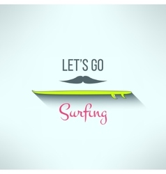 surfing background with hipster mustache vector image vector image