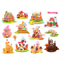sweet houses and castles 3d cartoon objects vector image